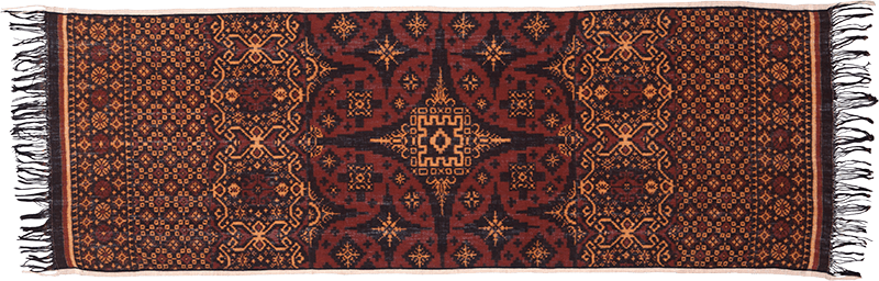 Brown and rust double ikat cloth; Bali.