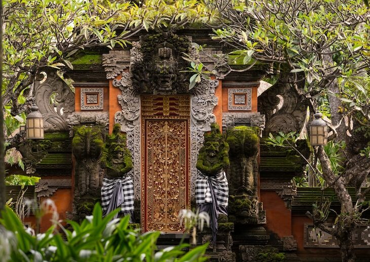 Hotel entrance in Balinese architecture style.