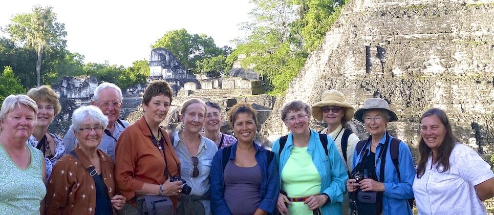 Group which climbed pyramids of Tikal National Park.