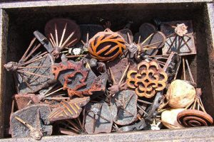 Box of adinkra printing stamps from Ntonso, GHANA