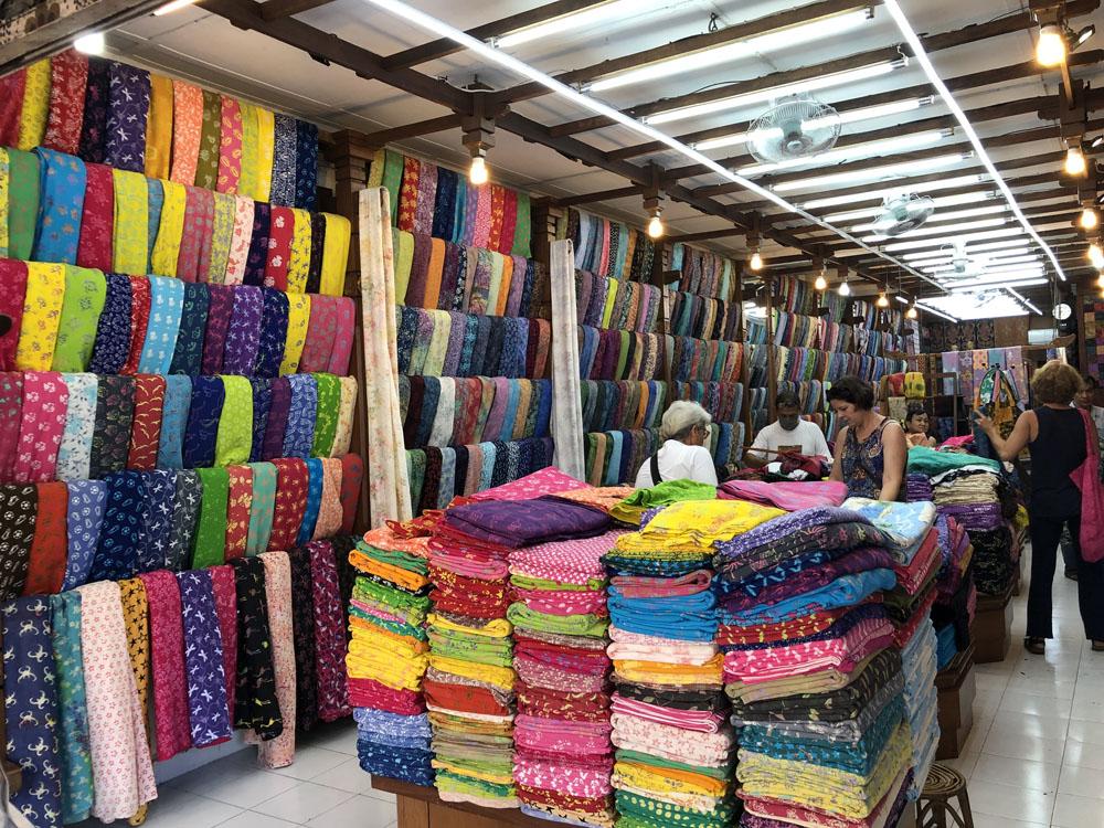Batik quilt fabric store in Denpasar, Bali.