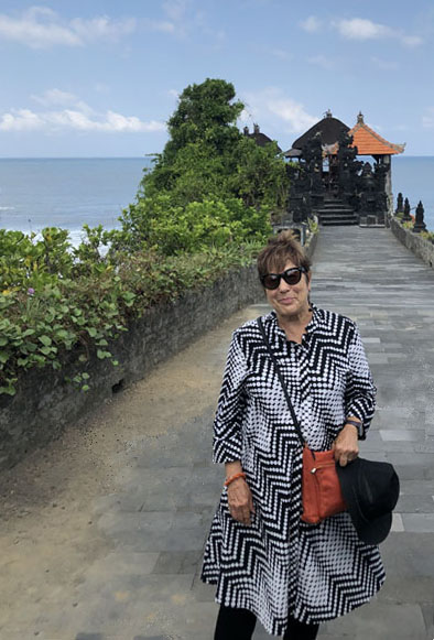 Cynthia Samake at the Tanah Lot temple, Bali.