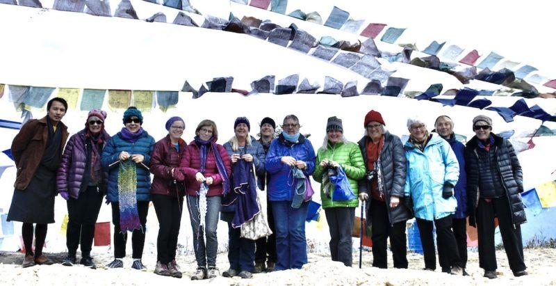 Bhutn textile tour knitting at the Pass