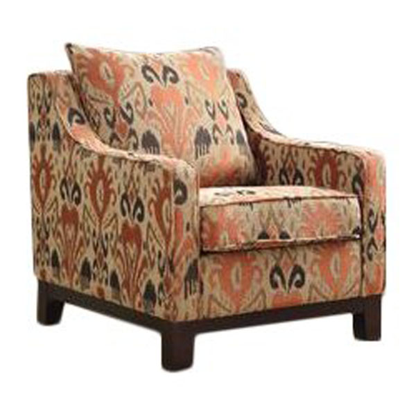 Chair with orange and brown ikat designs