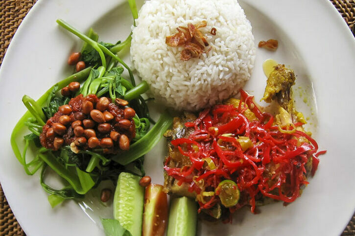 Typiucal dinner of rice and vegetables in Bali, Indonesia.