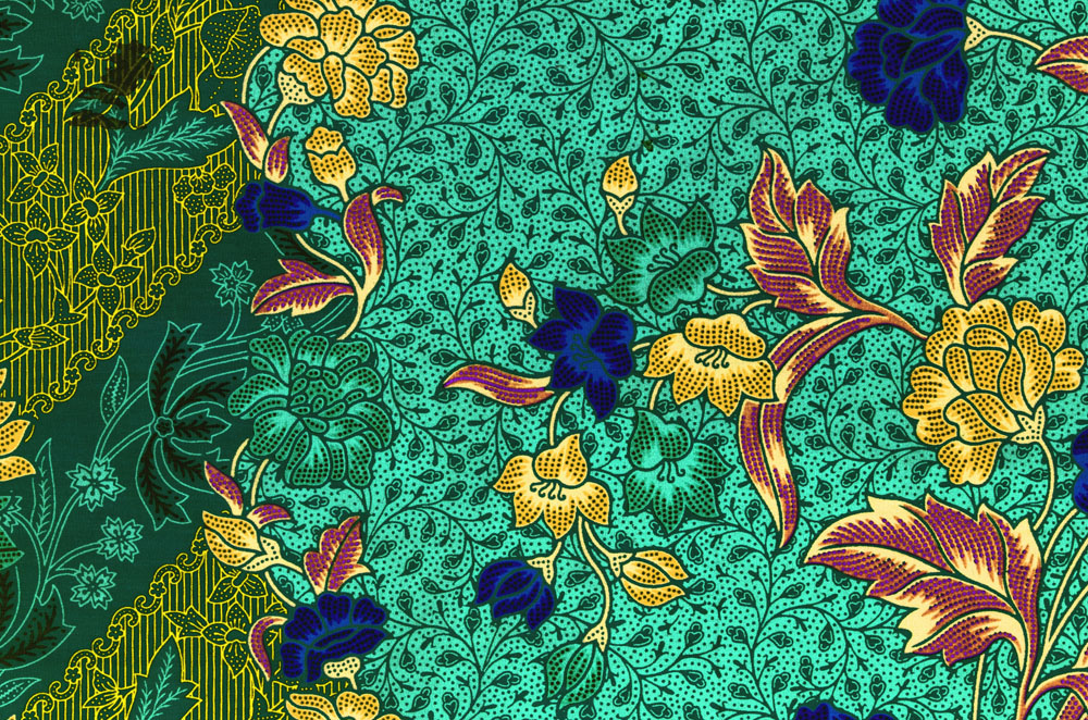 Blue-green cotton printed cloth in Bali.