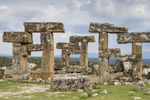 Balanced stone shapes form the gate to Blaundos.