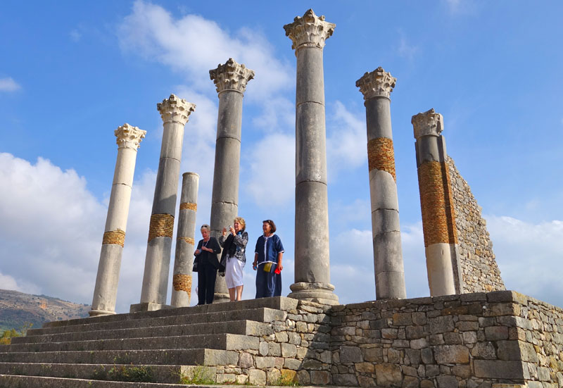 Columns of Volubilis, archeological site Roman ruins