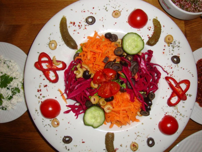 Artfully arranged salad in Tokat.