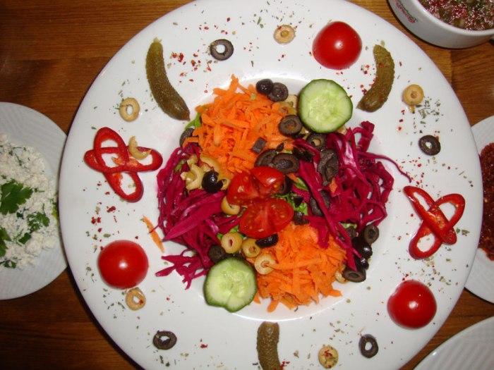 Artfully arranged salad in Tokat.