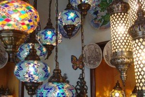 Decorative glass lamps in a bazaar stall, Istanbul GRAND BAZAAR, TURKEY.