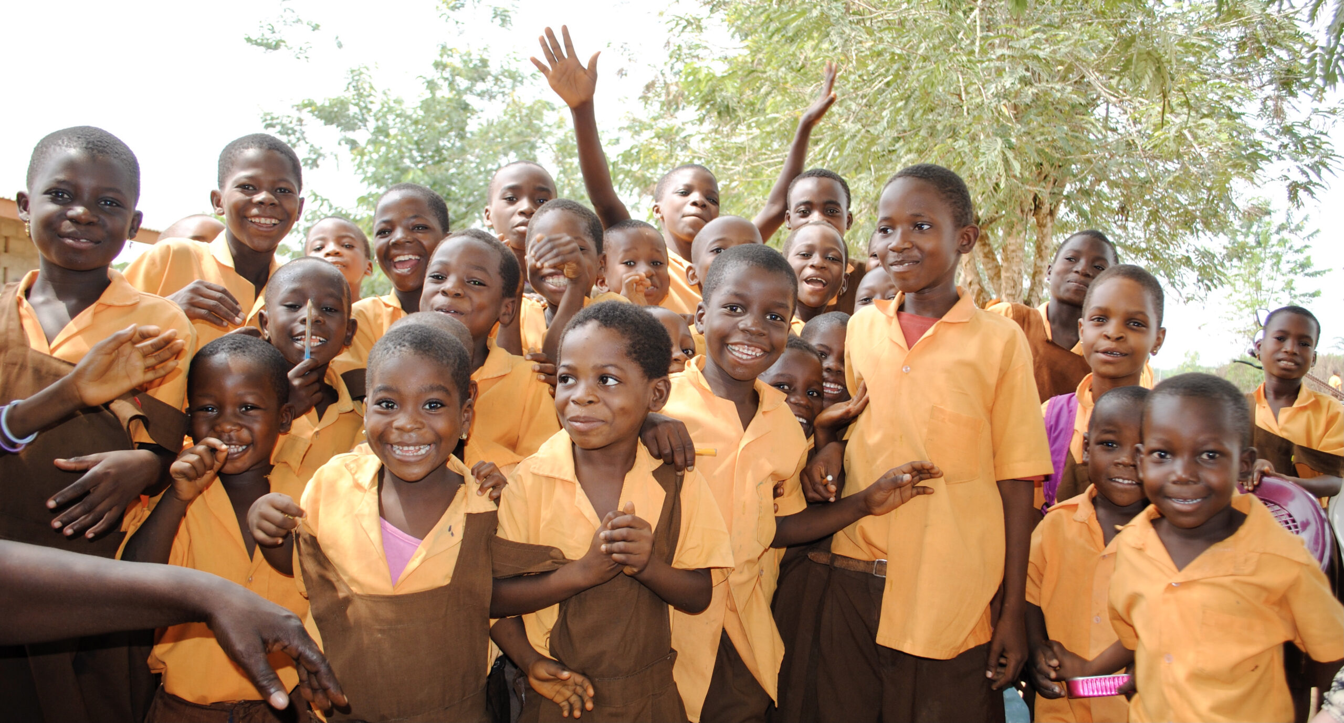 Happy group of school children in Ghana.