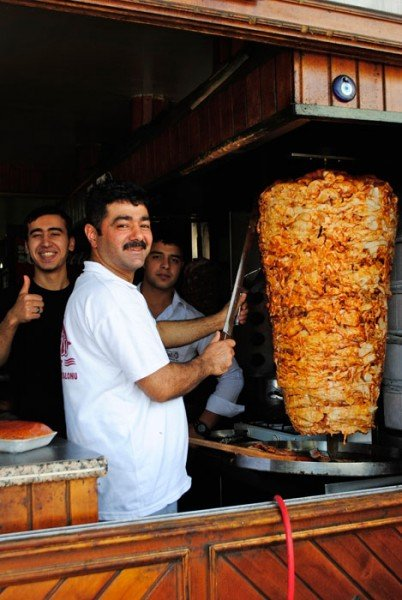 Istanbul cafe with chicken doner, or vertical grill--yum!