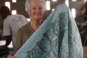 Denise's stamped cloth, ready to dye. GHANA
