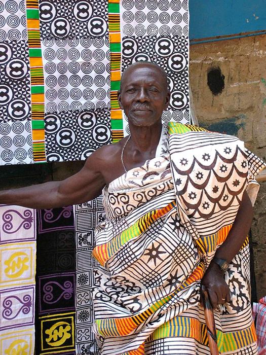 Man wears Adinkra cloth, Ghana