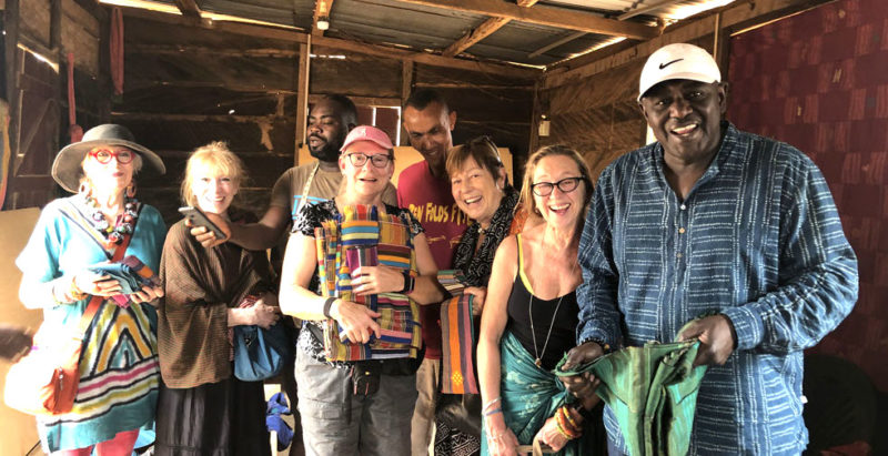 Textile tour visits renowned kente strip cloth weaver.
