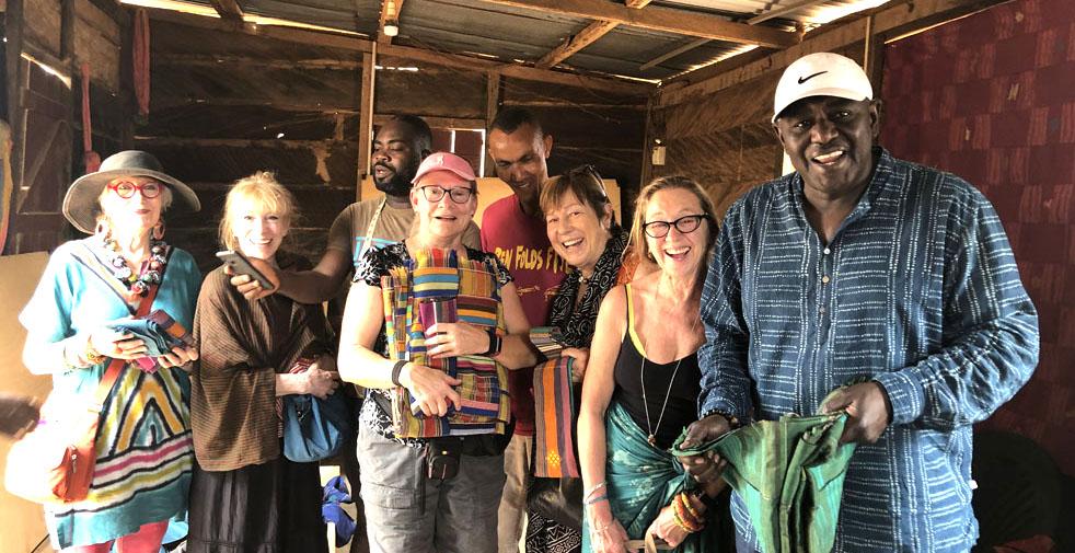 Textile tour visits renowned kente strip cloth weaver.