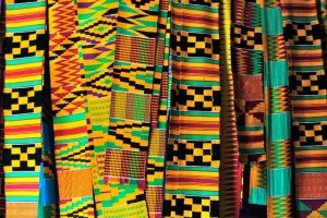 Colorful pieces of traditional kente arts of Ghana.