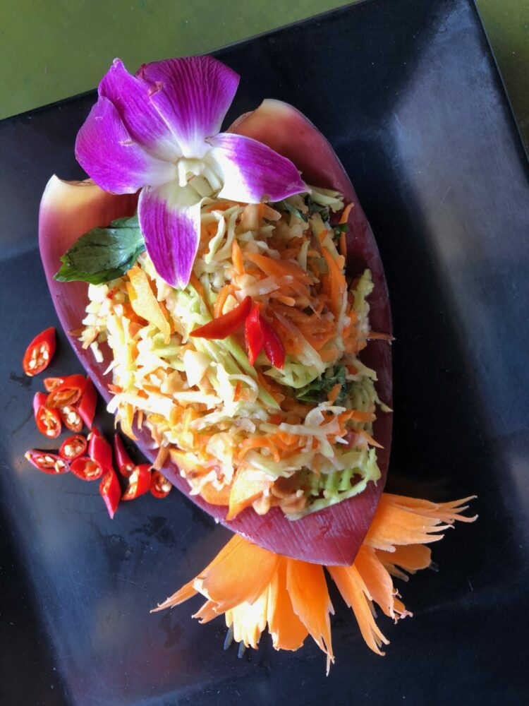 Salad prepared in Tigre de Papier oooking class, Cambodia.