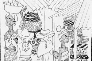 Sketch of fabric market vendors, GHANA