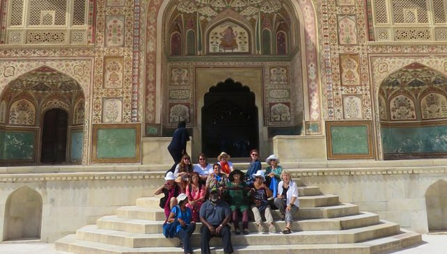 Behind the Scenes group posing on steps of Amer or Amber Palace, Jaipur.