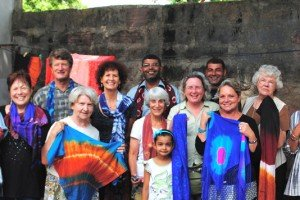 With our beautiful silk scarves we created in Bhuj,INDIA.