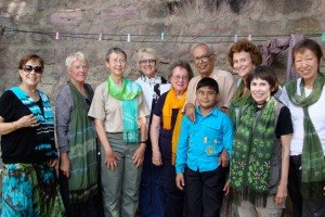Showing off the elegant tie-dye scarves we created; INDIA