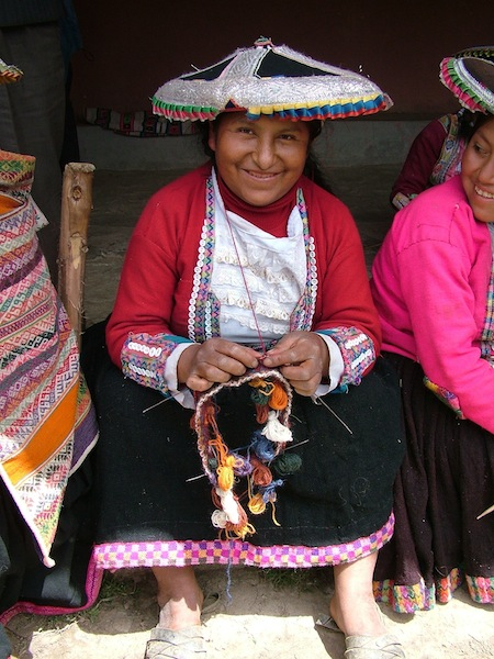 Knitter in Andean highlands