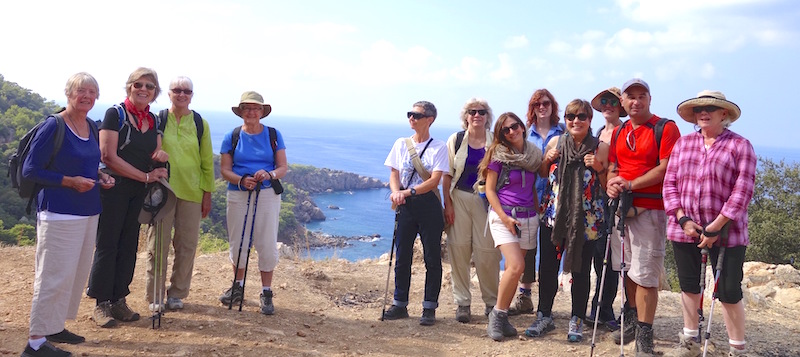 Turkey textile tour group, hiking above the Mediterranean Ocean.