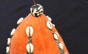 Fabric Calabash with Cowry Shells, by Melanie Grishman, 7-2014.