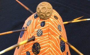 """Fabric """"Gourd"""" with quills, by Melanie Grishman; 7-2014"""