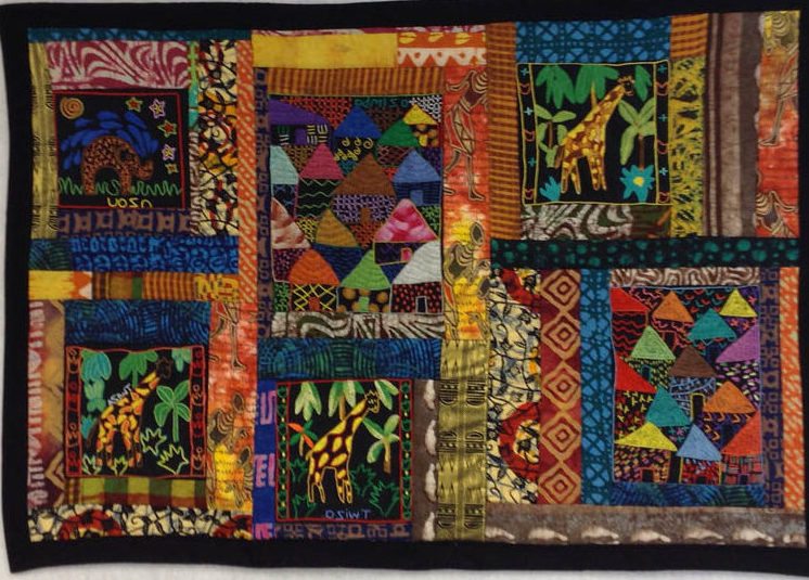 Patchwork quilt made from Ghana cloth