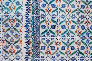 Blue and red ceramic tiles in a mosque; Istanbul, Turkey