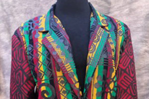Men's jacket made with wax-print cotton fabric from Ghana