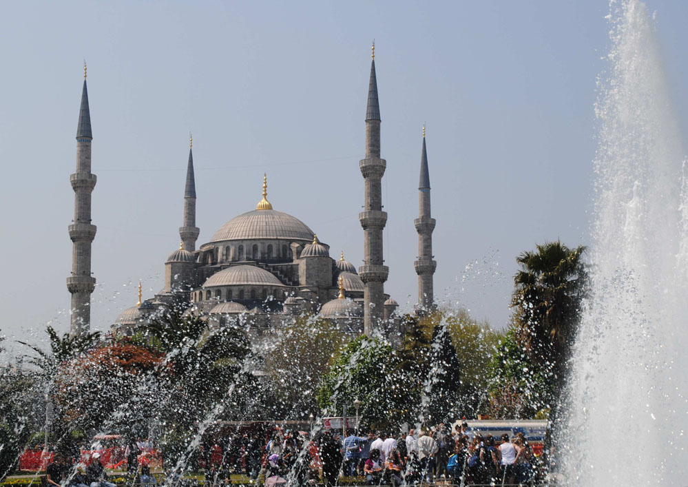 View of the sacred Blue Mosque in Istanbul, Turkey