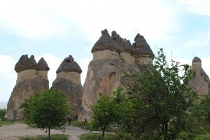 Eroded tufa geological forms in Capadoccia, Turkey.