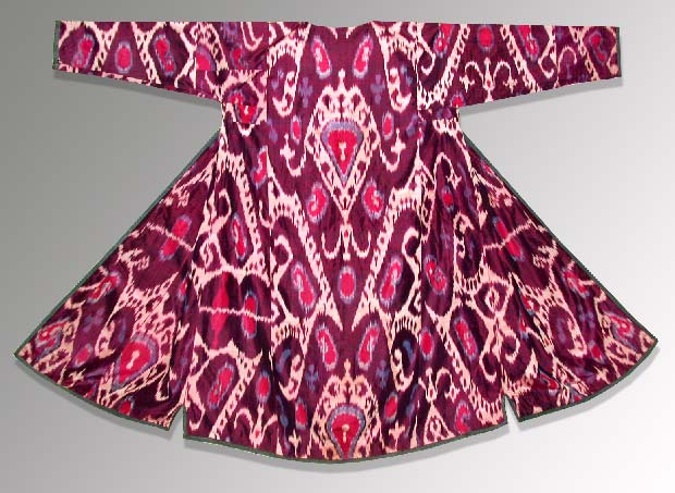 Red and pink silk ikat chapan robe.