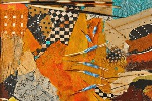 "Bamako Quills; Collage by Jean Haefele. Fabrics from Ghana; 14"" x 14."" Contact jeanhaefele@live.com"