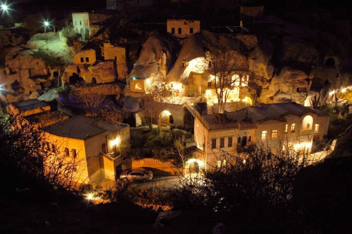 Looking down on our Cappadocia hotel at night, and the pool, below.