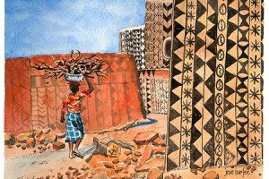 Tiebele, GHANA Watercolor by Jean Haefele