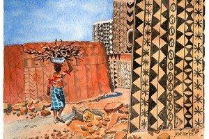 Tiebele, GHANA Watercolor by Jean Haefele